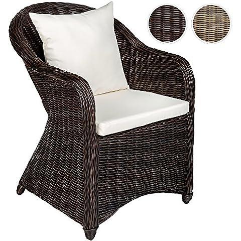 TecTake Aluminio silla de jardín sillón sofa de mimbre poliratán terraza con 2 cojínes - disponible en diferentes colores - (marrón mixed | no. 401975)