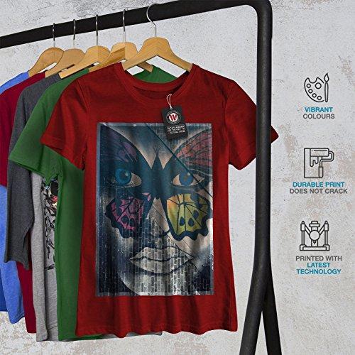 wellcoda Papillon Visage Mode Femme S-2XL T-Shirt Rouge