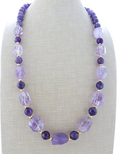 Collana lunga con ametista lavanda, collana pietre dure, gioielli moderni, bijoux estate, creazioni artigianali, regalo per lei