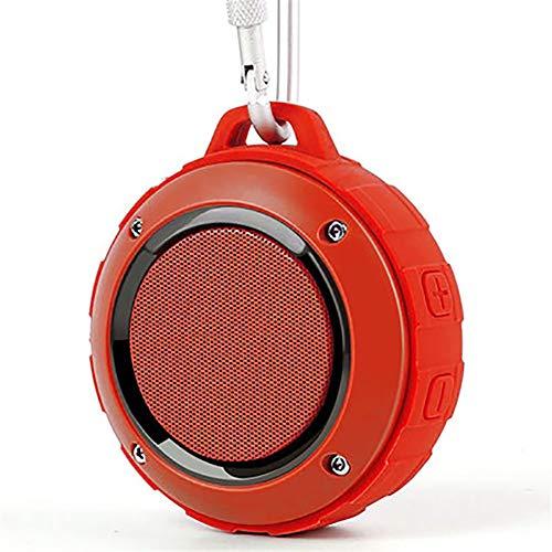 door-Bluetooth-Lautsprecher, Drahtlose Dusche wasserdichte Lautsprecher Wiederaufladbare Stereoanlage, Mit Haken, Eingebautes Mikrofon Für iPhone/Ipad/Android/Samsung/Tablet /,Red ()