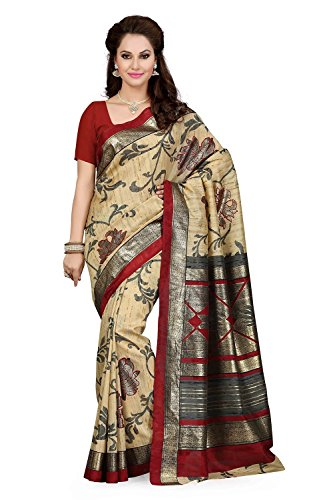 Ishin Bhagalpuri Silk Beige & Maroon Printed Saree  available at amazon for Rs.399