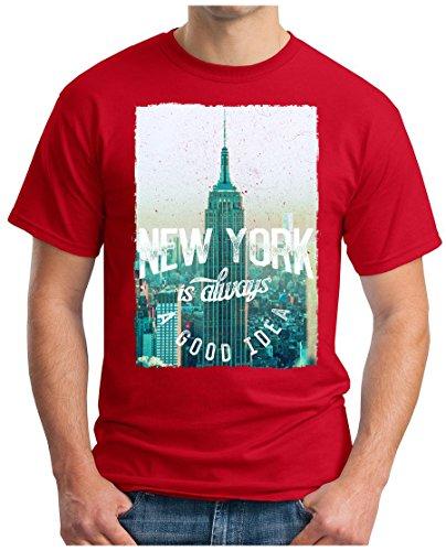 OM3 - NEW-YORK - T-Shirt IS ALWAYS A GOOD IDEA NY BRONX LA PD GANG EMPIRE USA Rot