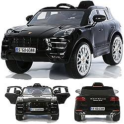 Porsche Macan Turbo viele LED Effekte Soft Start Kinderauto Kinderfahrzeug Kinder Elektroauto Schwarz