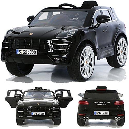 *Porsche Macan turbo viele LED Effekte Soft Start Kinderauto Kinderfahrzeug Kinder Elektroauto Schwarz*