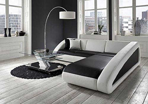 SAM Ecksofa Ciao schwarz - weiß - weiß 270 x 250 cm Ottomane rechts designed by Ricardo Paolo exklusiv L - Form