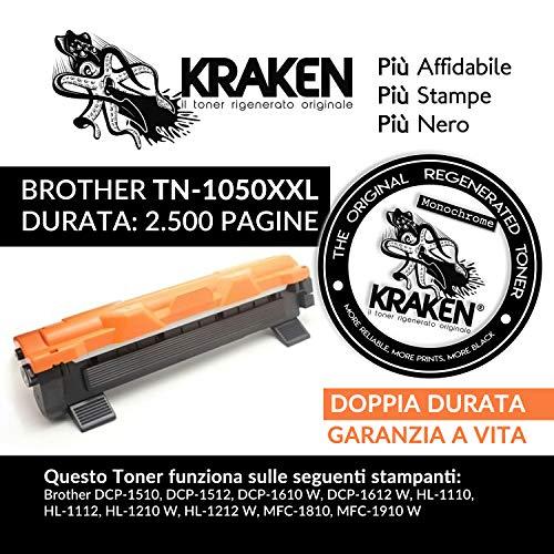 Kraken, Il Toner Rigenerato sotituzione tn1050 Xxl Alta Capacità da 2500 Pagina. Compatibile Con Stampanti HL1110, HL1112,HL1210W,DCP1510,DCP1512,DCP1610W,DCP1612W, MFC1810,MFC1910W, Nero