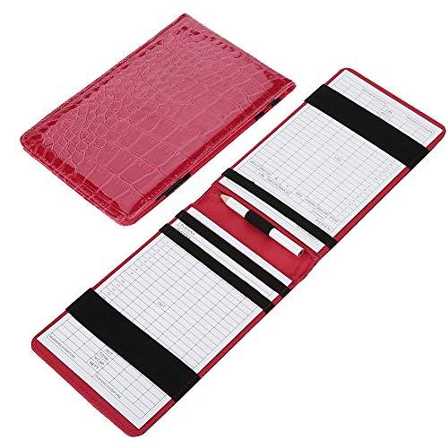 Dewin Leder Golf Scorekartenhalter, Golf Score Counter Keeper Kartenhalter Geschenk Sport Zubehör mit Bleistift (Farbe : Red) - Leder-counter
