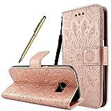 Fraelc® Samsung Galaxy S8 Hülle Premium Kunstleder Tasche im Bookstyle Klapphülle mit Weiche Silikon Handyhalter Lederhülle für Samsung Galaxy S8 Indische Sonne Design Brieftasche - Rosa Gold