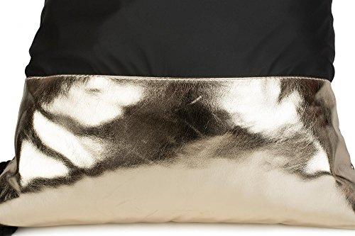 styleBREAKER borsa sportiva hipster con stile metallico a 2 tonalità, borsa sportiva, zaino, bauletto, unisex 02012170, colore:Nero/ Oro Nero/ Oro