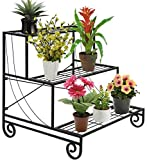 Malayas® Etagère de Plante/Fleur Multifonctionnelle à 3 Niveau en Métal de Haute Qualité pour Décoration de Maison/Terrasse/Balcon/Jardin/Cour -- Noir...