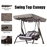 Essort Swing Top Cover, Impermeable Anti-UV Swing Top Protectora Canopy Repuesto para Exterior Porche Patio Swing, 190 × 132 × 14 cm, Taupe