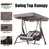 Essort Swing Top Cover, Impermeable Anti-UV Swing Top Protectora Canopy Repuesto para Exterior Porche Patio Swing, 190 × 132 × 14 cm, Taupe
