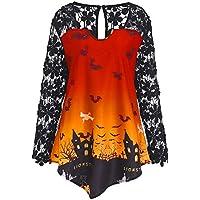 Damen Langarm T-Shirt Piebo Horror Style Frauen Halloween Hexe Bedrucktes Design Sweatshirt Bluse Spitzeneinsatz Clubbing Party Slim Shirt Top