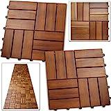 Deuba 33x Holzfliesen Akazie Mosaik | 3m² Fliese 30x30 cm Stecksystem | Zuschneidbar Terrasse Balkon Holzboden Klick