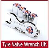 Sprigy(TM)England Britain Uk Anti-Theft Union Jack Wrench Keychain Tire Valve Stem Caps Wheel Valve Caps Flag Stem Cap Flag Emblem Valves