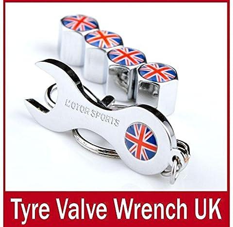 sprigy (TM) Antivol Angleterre Grande-Bretagne Royaume-Uni Union Jack Porte-Clés Clé à bouchons de valve de roue Capuchons de soupape Drapeau Tige PAC Drapeau emblème Valves