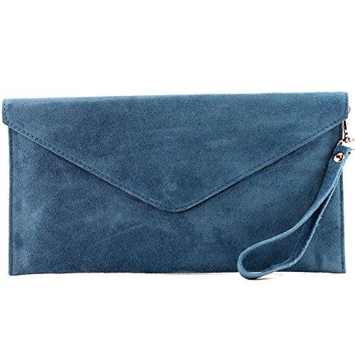 Modamoda de,T106 –Borsa in pelle,  clutch da sera, produzione italiana Blu jeans