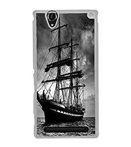 ifasho Designer Phone Back Case Cover Sony Xperia T2 Ultra :: Sony Xperia T2 Ultra Dual SIM D5322 :: Sony Xperia T2 Ultra XM50h ( Purple Leather Look Classy Formal Pose Look )