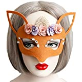 Smile YKK Máscara Mujer de Mascarada Forma de Zorro con Flores Naranja