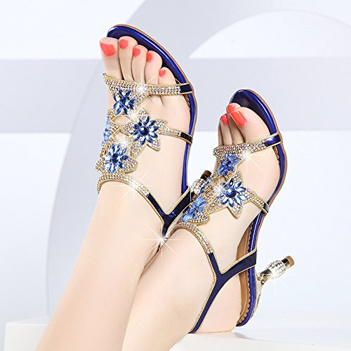 Wald Umrahmt (SUHANG Sandalen Fein Mit Sandalen Weibliche Wasser Bohren Bohren Mit Blumen Die High-Heel Schuhe Umrahmt - Schuhe, 35, Blau)