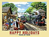 Happy Holidays Travel By Train blechschild (og 2015)
