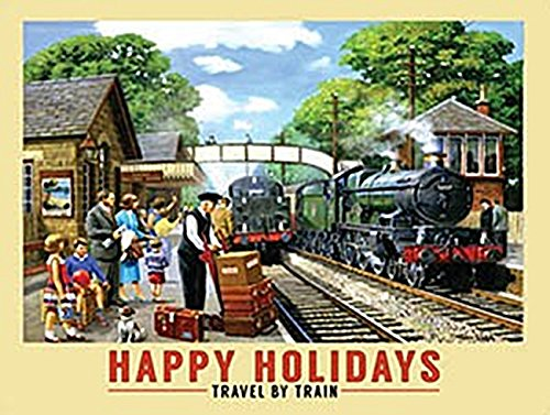 Happy Holidays Travel By Train blechschild (og 2015)
