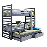 Triple Bunk Bed HIPPO Modern Trundle High Sleeper Mattress Drawers Ladder 3 Children Pine Wood
