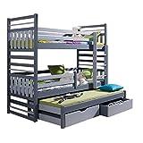 Triple Bunk Bed HIPPO Modern Trundle High Sleeper Mattress Drawers Ladder 3 Children Pine Wood