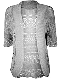 62b34025805412 Girly Look Ladies Crochet Knit Plus Size Short Sleeve Open Shrug Bolero  Cardigan 14-30