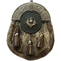 Herren Full Kleid Kilt Sporran Formale Dichtung Haut Celtic efterkante Antik Distel Wappen/Highland Kilt Sporrans kilttaschen