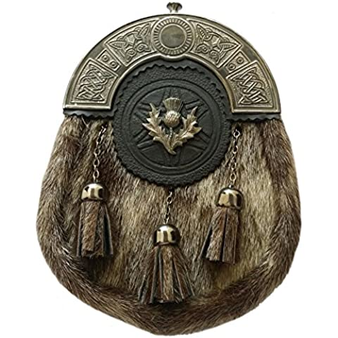 Da uomo Kilt Abito formale sigillo pelle celtico Sporran Cantle antico Cardo con Stemma/Highland Kilt Sporrans