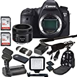 Canon EOS 6D 20.2 MP Full Frame CMOS Digital SLR DSLR Camera With EF 50mm F/1.8 STM Lens + 2pc SanDisk 32GB Memory Cards + Battery Power Grip + Special Promotional Holiday Accessory Bundle