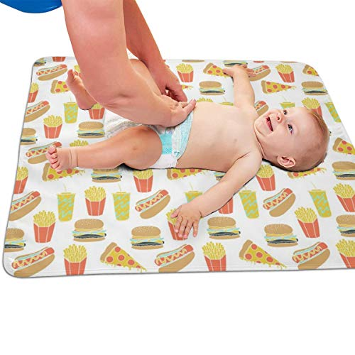 Junk Food Hot Dog Pizza Fries Soda Fried Food Quilted Thicker Longer Waterproof Changing Pad Liners for Babies 31.5 X 25.5 inch