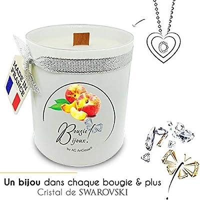 Bougie Bijoux Pêche Jaune avec Cristal de Swarovski. Parfum de Grasse et mèche en bois. Le bijou caché se dévoile après 30 minutes ! Coffret CADEAU Pendentif