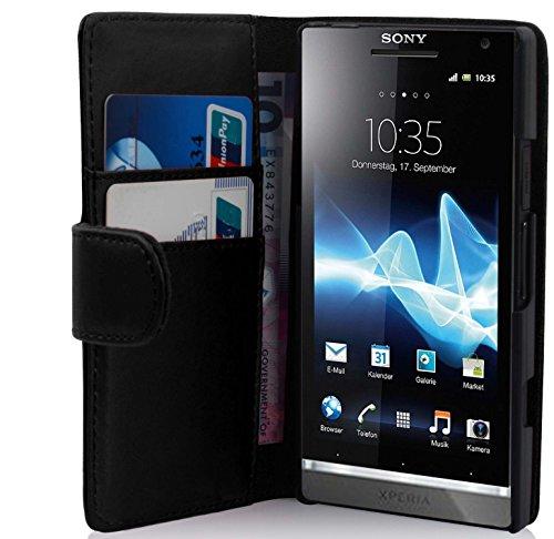 Preisvergleich Produktbild Cadorabo Hülle für Sony Xperia S - Hülle in KAVIAR SCHWARZ – Handyhülle mit Kartenfach aus glattem Kunstleder - Case Cover Schutzhülle Etui Tasche Book Klapp Style