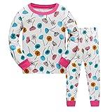 Tkiames Mädchen Schlafanzug Pyjama Löwenzähne Sleepwear Langarm Hausanzug Baumwolle Kinder Nachtwäsche 104-134