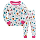 Tkiames Mädchen Schlafanzug Pyjama Löwenzähne Sleepwear Langarm Hausanzug Baumwolle Kinder
