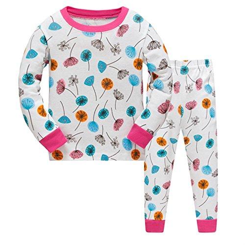 Tkiames Mädchen Schlafanzug Pyjama Löwenzähne Sleepwear Langarm Hausanzug Baumwolle Kinder Nachtwäsche 104-134 (Baumwolle Mädchen Nachtwäsche)