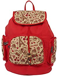 Purse Collection Red Printed Shoulder Bags With 3 Front Pockets For Women'S