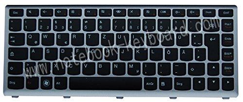 NExpert Orig. QWERTZ Tastatur für Lenovo IdeaPad U410 Serie DE Mit silberne Rahmen NEU (Tastatur Rahmen)