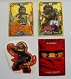 Lego Ninjago Serie 3-2 limitierte Gold Karten Trading Cards LE 4 Spinjitzu Meister Cole, LE 14 Cole vs. Ultra Violet + 1 Ninjago Aufkleber Cole + 1 Ninjago Schútzhülle