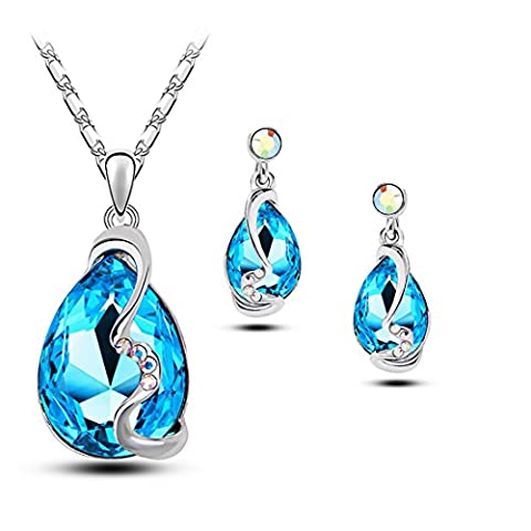 Ocean Blue Water Drop Crystal Necklace and Stud Earrings Set for Women