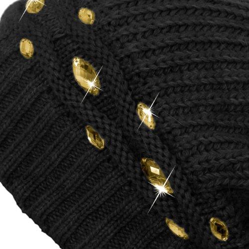 CASPAR MU074 Bonnet hiver en tricot pour femme - Beanie avec strass et gros pompon Noir