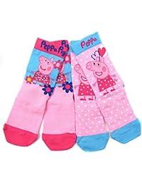 filles peppa pig pack de deux chaussette chaussettes 3 55 6 8 et 9