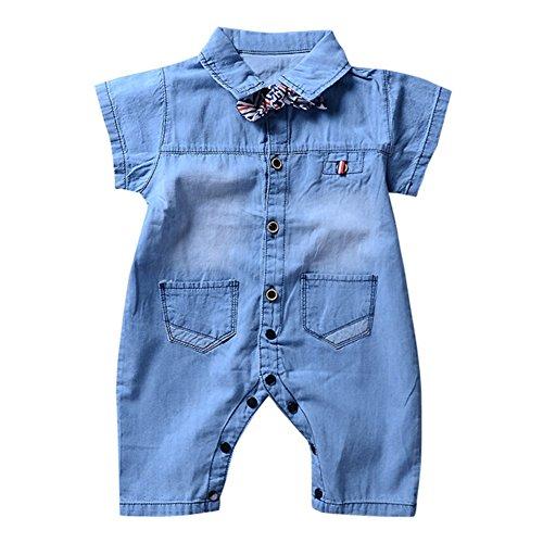 Wongfon abito pagliaccetto jeans per neonati e ragazzi, vestito a maniche corte denim neonato tuta completa abiti estivi per bottoni 0-18 mesi