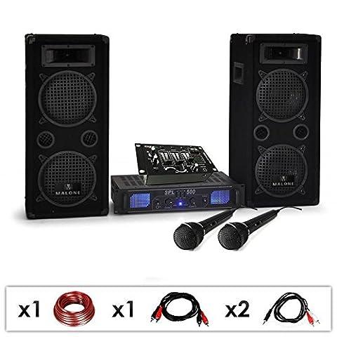 DJ-25M-PA-Karaoke-Set / lautstarke 1600 Watt Party-Musikanlage mit DJ-Mixer, PA Boxen, Verstärker, Kabel-Set & 2 Mikrofone (für bis zu 200 Personen, USB- & Mikrofon-Eingänge, 4x 20cm