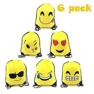 TATAFUN Emoji Bolsas de Cuerdas – 6 PCS Emoji Mochilas Petates Infantiles para Niños Niñas Fiesta de Cumpleaños Favores Decoraciones