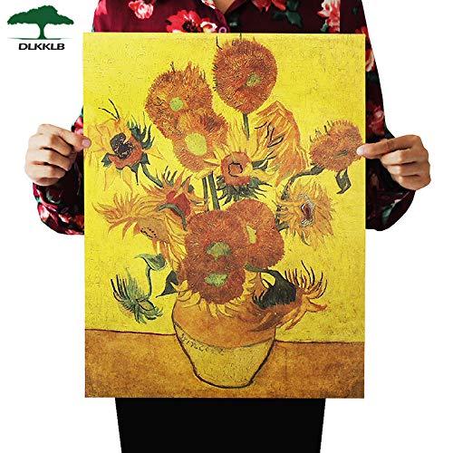 jiushice Poster retrò Girasole Arte Astratta Moderna Olio di Bar Cafe Decorativo 60x90cm