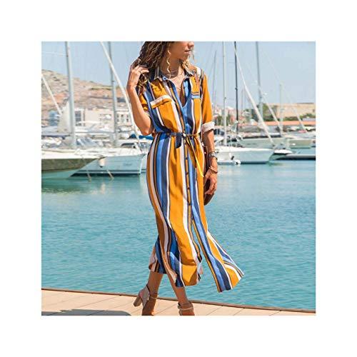 Turn Down Collar Office Ladies Stripe Shirt Dress Long Beach Dress Casual Long Sleeve Elegant Party Dress Vestidos Orange S - Old Navy Striped-shorts
