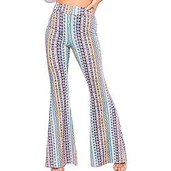 Jumojufol Pantalones De Rayas para Mujer Pantalones De Playa Acampanados Pantalones Bajos Boho Cintura Alta Azul M